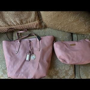 NWT Bebe pink leather embossed tote w/inside pouch